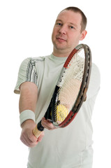 young tennis player serving. Isolated over white