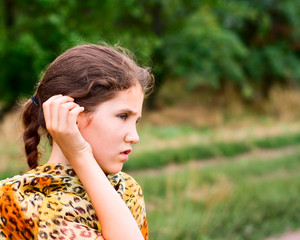 Beauty teen girl on nature for your design