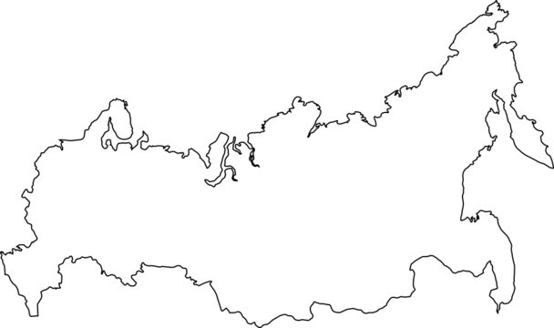 Outlines vector map of Russia.
