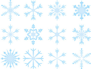 Vector collection of blue snowflakes