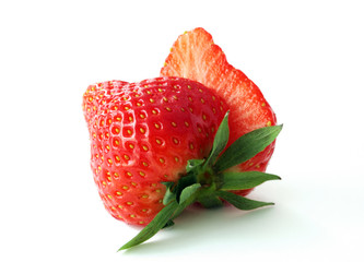 Fresh, ripe strawberries on white