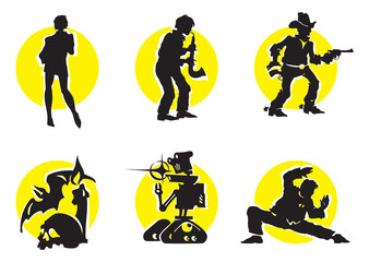 Cinema Silhouettes Icons in the different genres