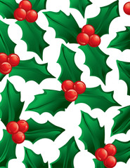 Illustration of green holly as a background