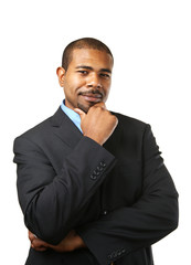 Handsome African American businessman thinking