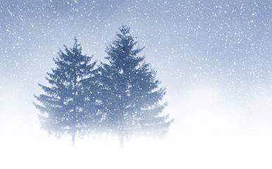 Christmas trees through snow. Blue sky, snowflakes, trees, fog