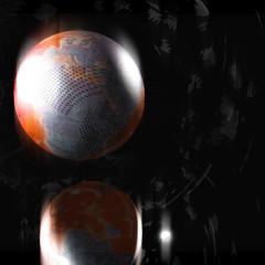 world globe with streaks