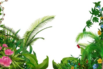 Tropical Plants 1 - hand drawn background illustration