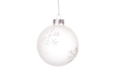 hanging christmas balls over a white background