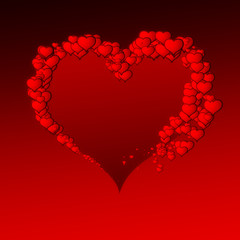 red valentine's hearts on red gradient background