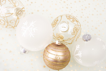 christmas golden background, with stars and christmas ball