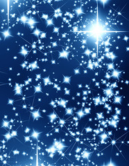 bright stars on a dark blue background