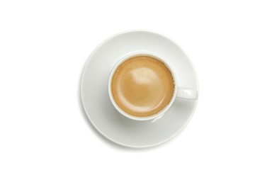Coffee cup on a saucer, on white background