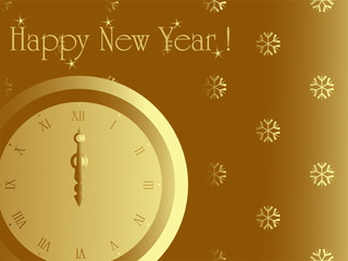 New year card with midnight clock