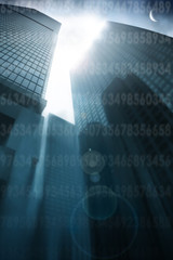 Abstract architectural background with skyscrapers