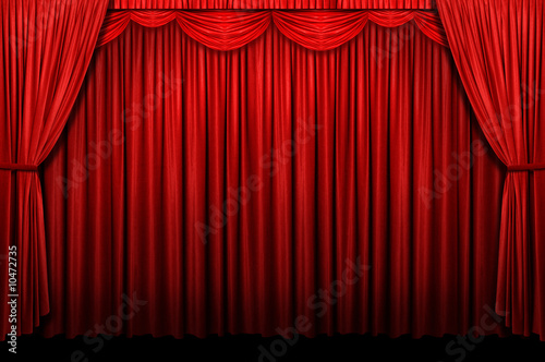 Wall mural Red stage curtains with arch entrance