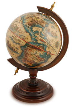 Antique globe from a red wood. Isolated on white.