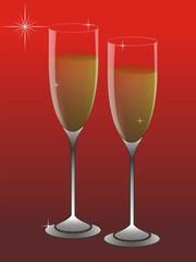 New year, wine glasses, shine, wine, star, red background