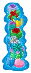 Pile of Christmas gifts on blue background