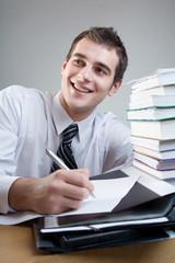 Busnessman or studing writing
