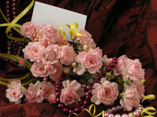 empty card  in the bouquet of roses for any your record