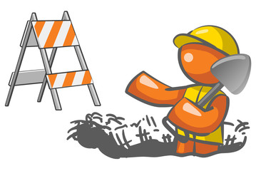 An orange man digging a hole with a roadblock
