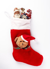 Bright Red Christmas Stocking With Present Inside