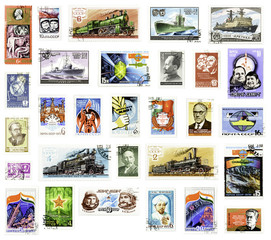 Collection of Soviet Union vintage stamps on white background