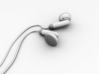 3d illustration of headphones over white background