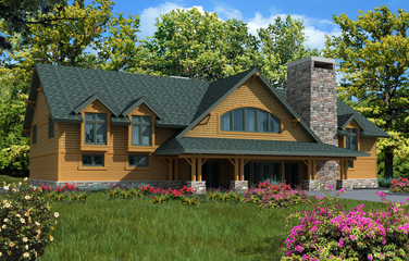 3d Model House with orange siding and green roof