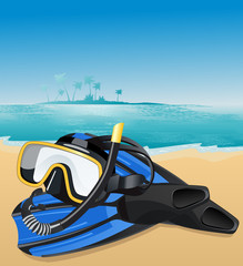 Blue flippers and swimming mask, vector illustration
