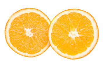 Photo of half orange on a over white background