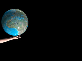 world globe in your hand