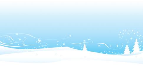 Drifting snow winter scene-wide view