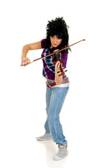 Attractive  punk violinist playing the electric violin