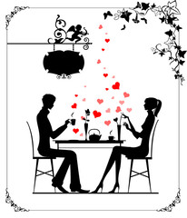 Silhouette of the couple in the cafe, illustration
