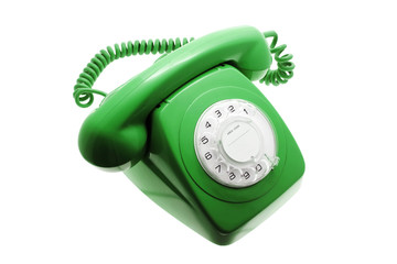 Green Telephone on Isolated White Background