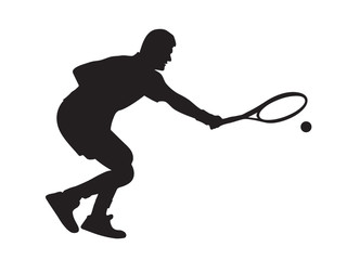 Silhouette of the tennis player