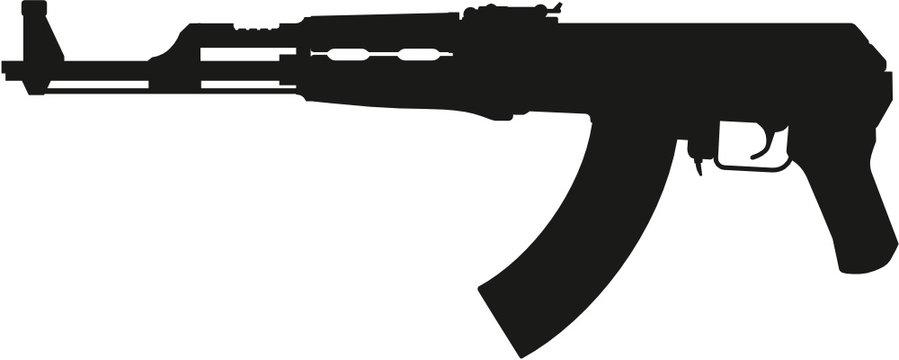 detailed vector silhouette of soviet kalashnikov ak47 short