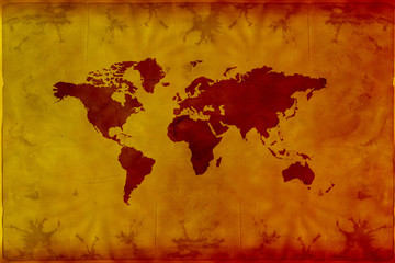 map of the world on grunge background