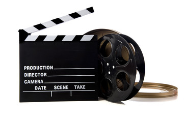Hollywood movie items including a clapboard and a movie reel