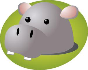 Cartoon head of a hippopotamus, cute animal  illustration