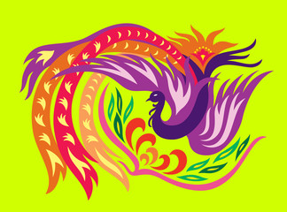 a decorative oriental phoenix flowing surrounding a flower