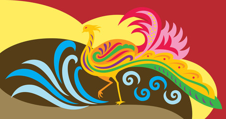 an abstract of a decorative phoenix