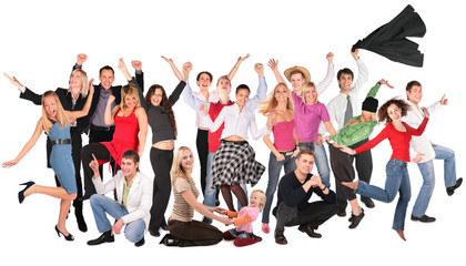 happy people group isolated