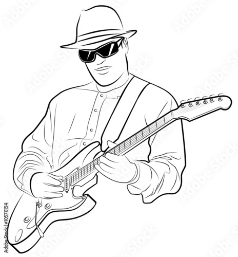 Vector Illustration Of A Man Playing Electrical Guitar Stock Image