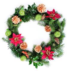 Beautiful Christmas Wreath Isolated on White background
