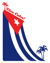 Cuba flag and palm, illustration