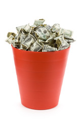 Dollars in Red Garbage Can