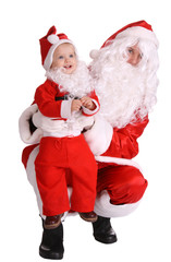 Couple of santa clause wait christmas.