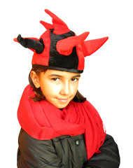 Girl with funny red black dragon hat